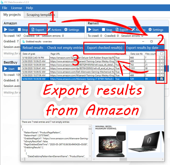 Scraping Amazon.com - results export