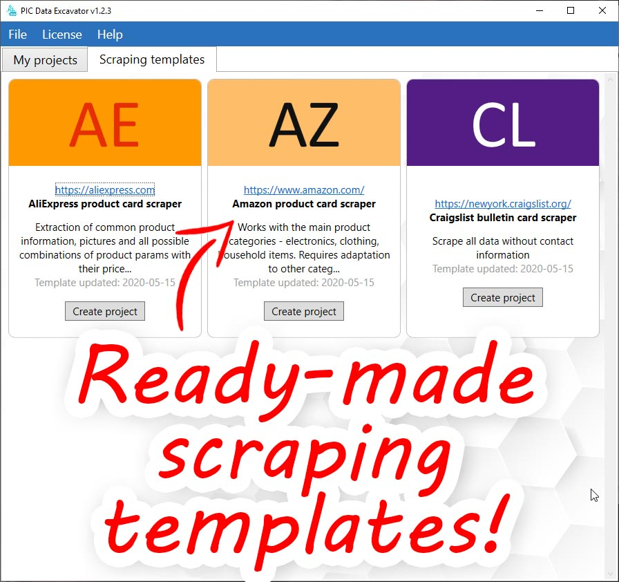 Data Excavator scraping templates - aliexpress scraper, amazon scraper, craigslist scraper