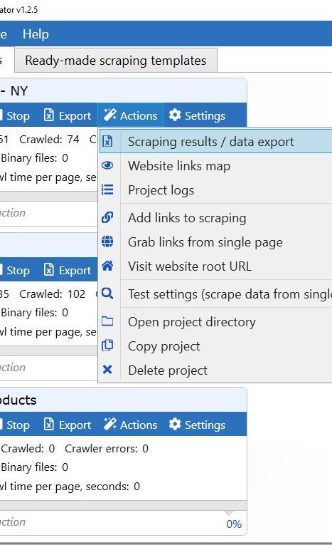 App project menu