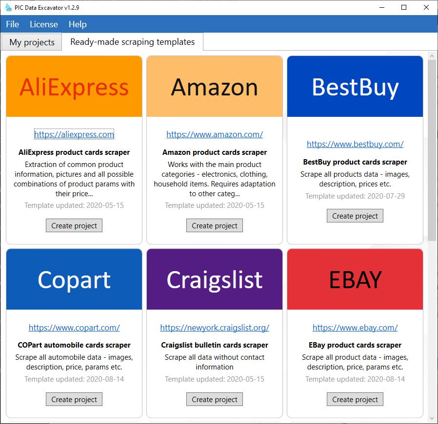 Ready-made scraping templates - Amazon.com, Ebay.com, BestBuy.com, AliExpress.com